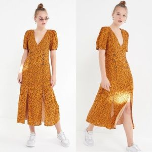Urban Outfitters Yellow Floral Slit Midi Dress